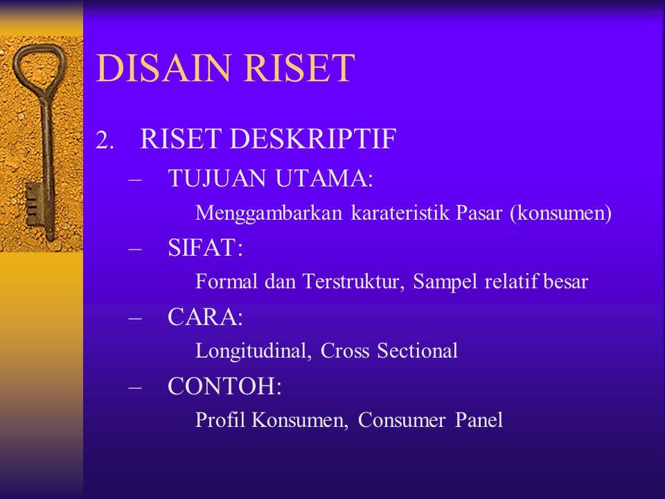 DISAIN RISET RISET DESKRIPTIF TUJUAN UTAMA: SIFAT: CARA: CONTOH: