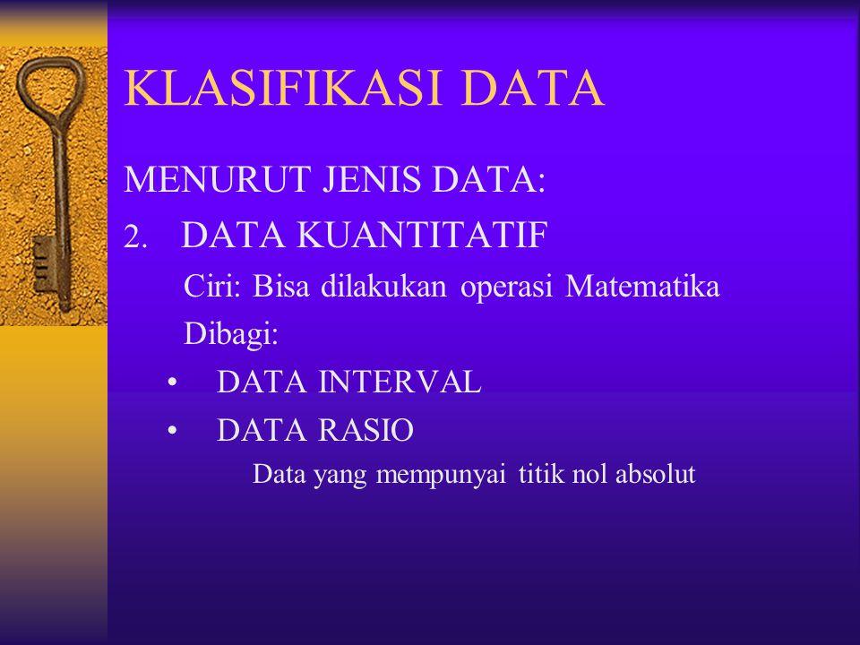 KLASIFIKASI DATA MENURUT JENIS DATA: DATA KUANTITATIF