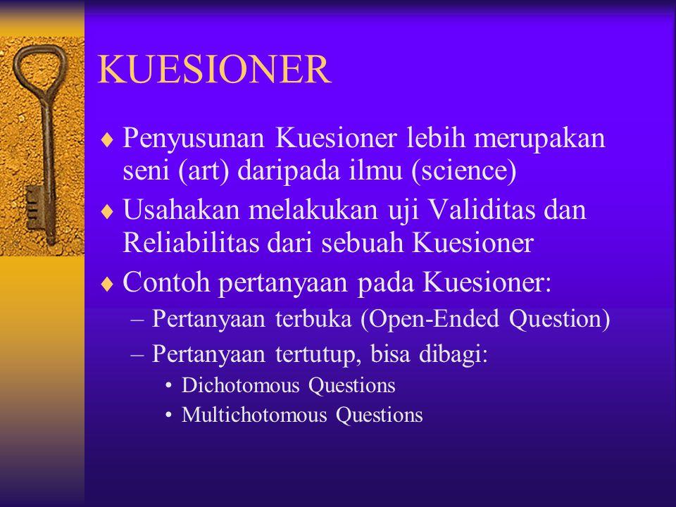 KUESIONER Penyusunan Kuesioner lebih merupakan seni (art) daripada ilmu (science)