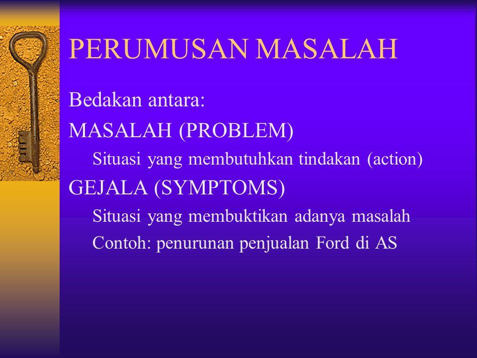 PERUMUSAN MASALAH Bedakan antara: MASALAH (PROBLEM) GEJALA (SYMPTOMS)