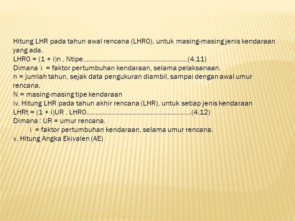 Hitung LHR pada tahun awal rencana (LHR0), untuk masing-masing jenis kendaraan yang ada.