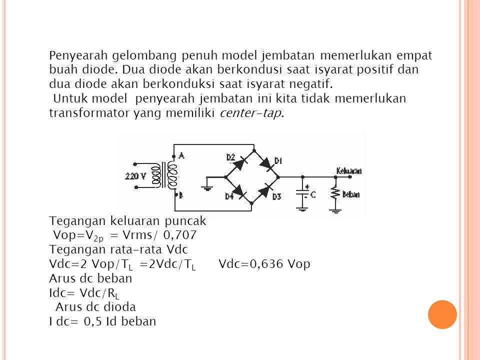 Penyearah gelombang penuh model jembatan memerlukan empat buah diode