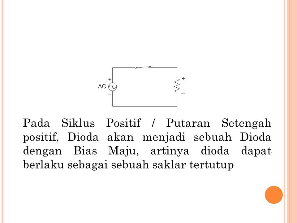 Pada Siklus Positif / Putaran Setengah positif, Dioda akan menjadi sebuah Dioda dengan Bias Maju, artinya dioda dapat berlaku sebagai sebuah saklar tertutup