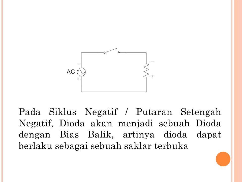 Pada Siklus Negatif / Putaran Setengah Negatif, Dioda akan menjadi sebuah Dioda dengan Bias Balik, artinya dioda dapat berlaku sebagai sebuah saklar terbuka