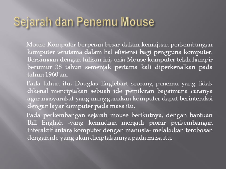 Sejarah dan Penemu Mouse