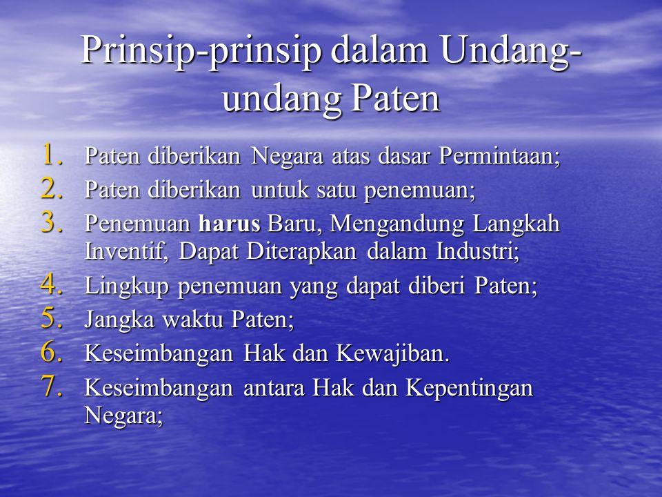 Prinsip-prinsip dalam Undang-undang Paten