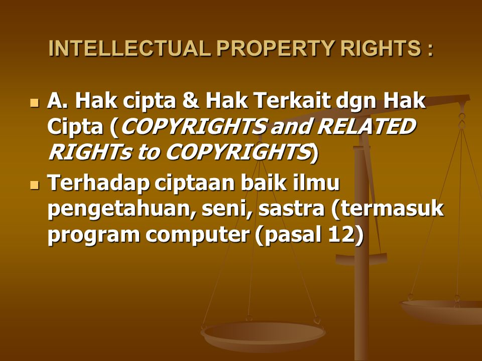 INTELLECTUAL PROPERTY RIGHTS :