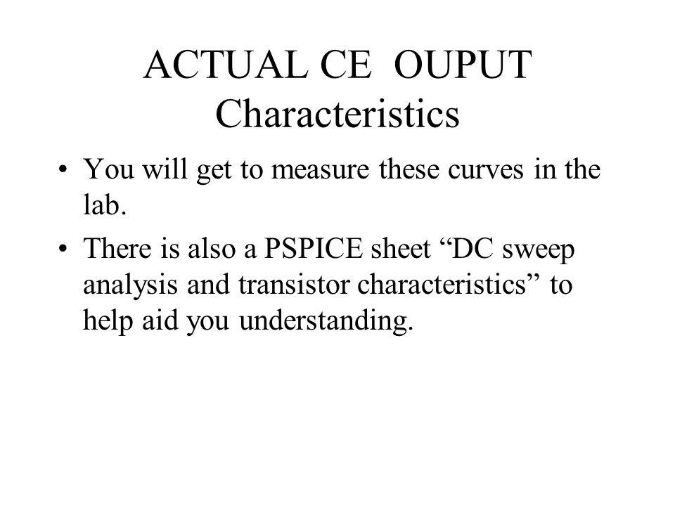 ACTUAL CE OUPUT Characteristics