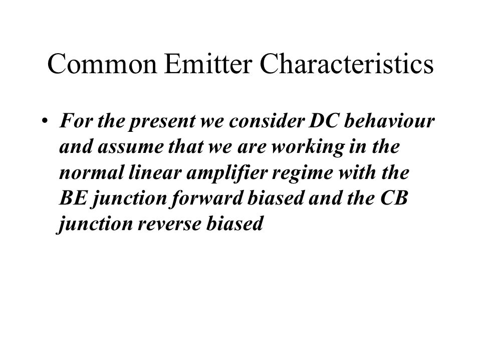 Common Emitter Characteristics