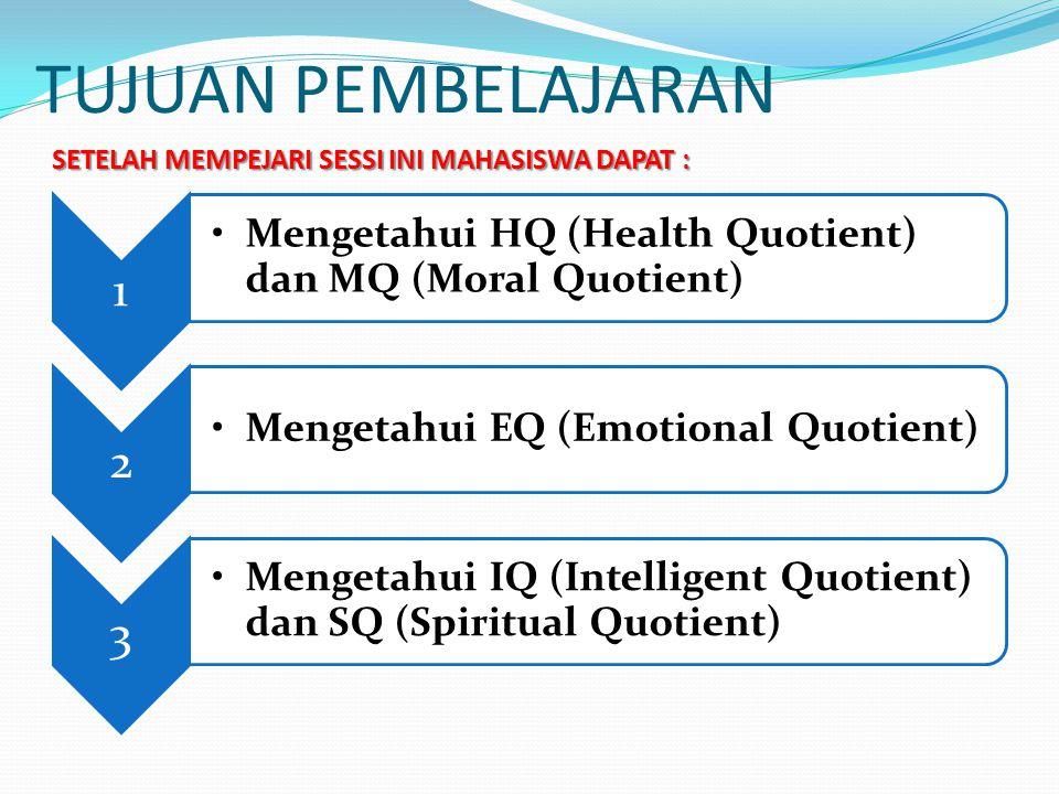 TUJUAN PEMBELAJARAN SETELAH MEMPEJARI SESSI INI MAHASISWA DAPAT : 1. Mengetahui HQ (Health Quotient) dan MQ (Moral Quotient)