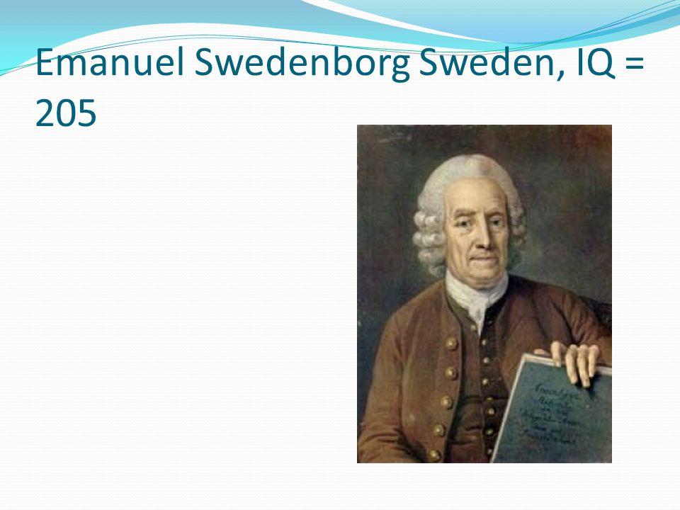 Emanuel Swedenborg Sweden, IQ = 205