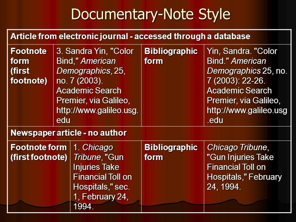 Documentary-Note Style
