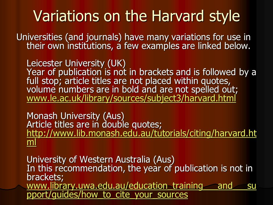Variations on the Harvard style