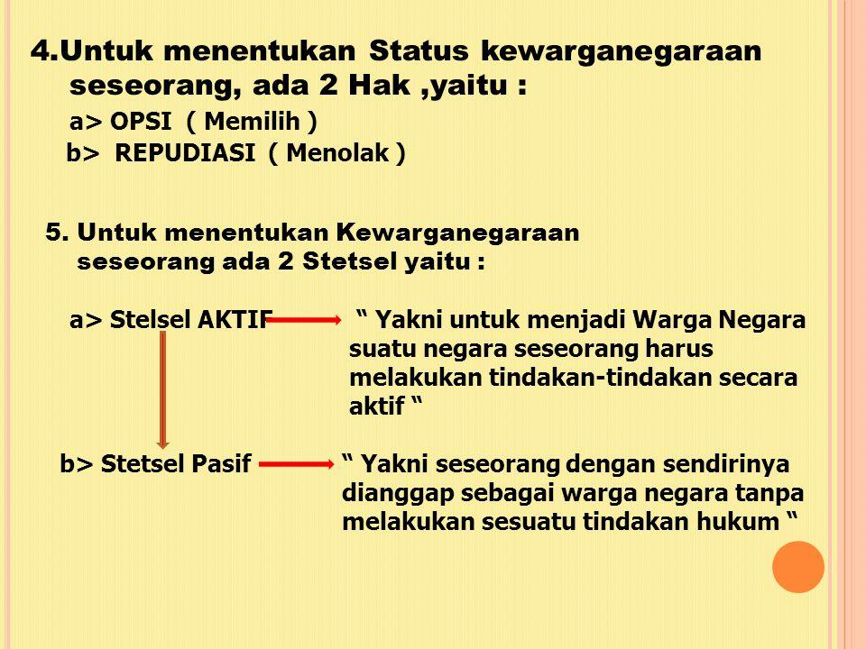 4.Untuk menentukan Status kewarganegaraan
