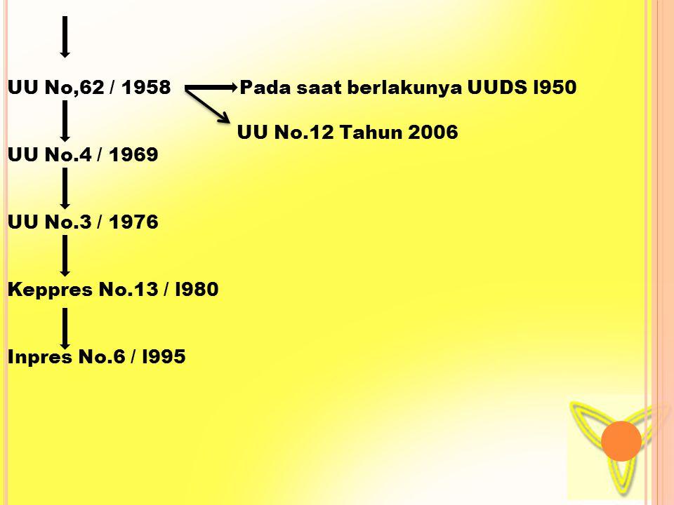UU No,62 / 1958 Pada saat berlakunya UUDS l950