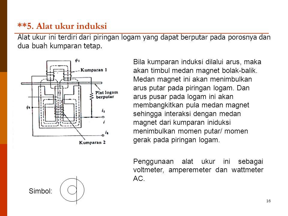 **5. Alat ukur induksi Alat ukur ini terdiri dari piringan logam yang dapat berputar pada porosnya dan dua buah kumparan tetap.