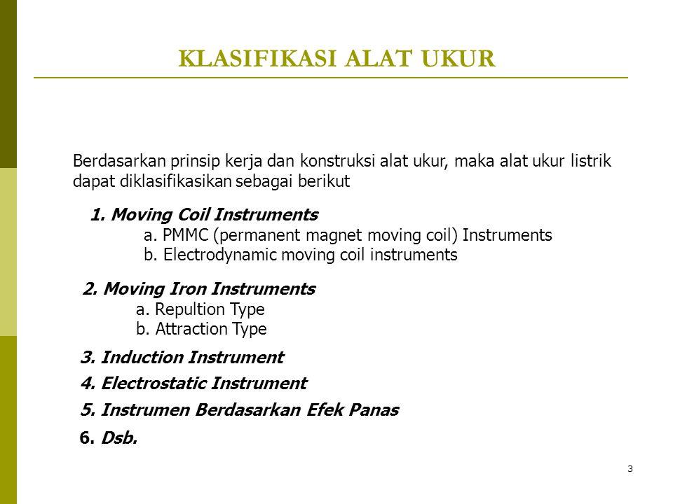 KLASIFIKASI ALAT UKUR Berdasarkan prinsip kerja dan konstruksi alat ukur, maka alat ukur listrik dapat diklasifikasikan sebagai berikut.