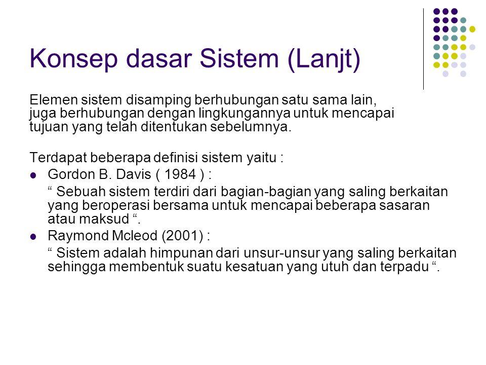 Konsep dasar Sistem (Lanjt)