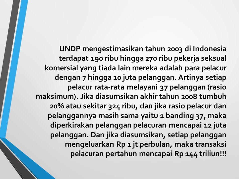 UNDP mengestimasikan tahun 2003 di Indonesia terdapat 190 ribu hingga 270 ribu pekerja seksual komersial yang tiada lain mereka adalah para pelacur dengan 7 hingga 10 juta pelanggan.