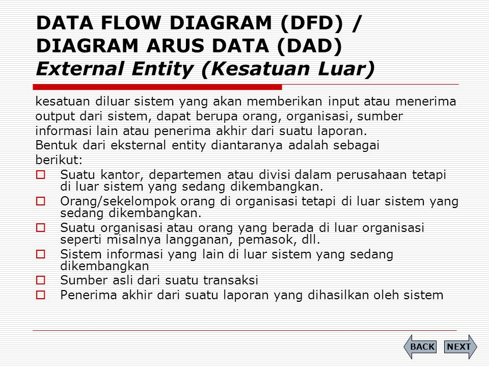 DATA FLOW DIAGRAM (DFD) / DIAGRAM ARUS DATA (DAD) External Entity (Kesatuan Luar)
