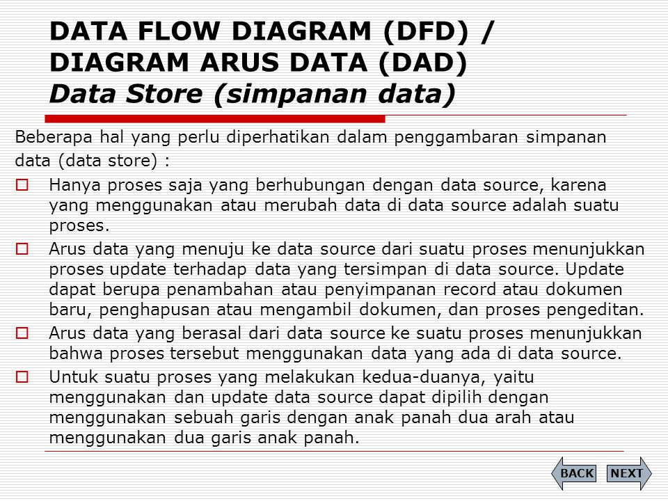 DATA FLOW DIAGRAM (DFD) / DIAGRAM ARUS DATA (DAD) Data Store (simpanan data)
