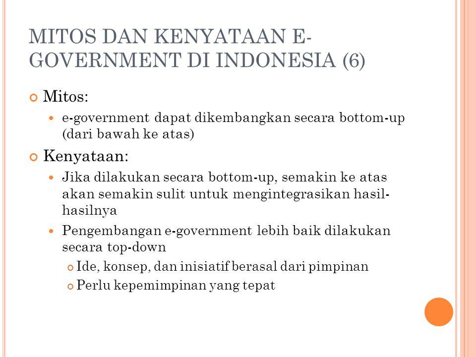 MITOS DAN KENYATAAN E-GOVERNMENT DI INDONESIA (6)