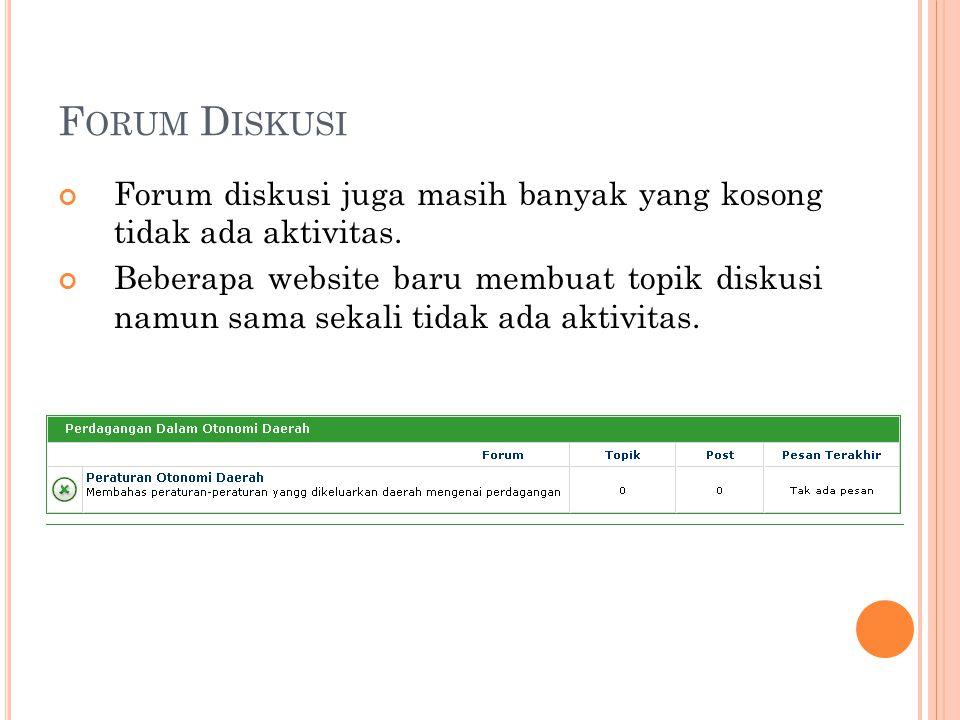Forum Diskusi Forum diskusi juga masih banyak yang kosong tidak ada aktivitas.