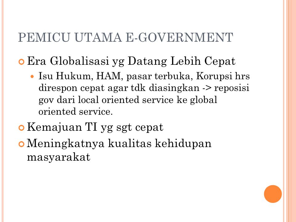 PEMICU UTAMA E-GOVERNMENT