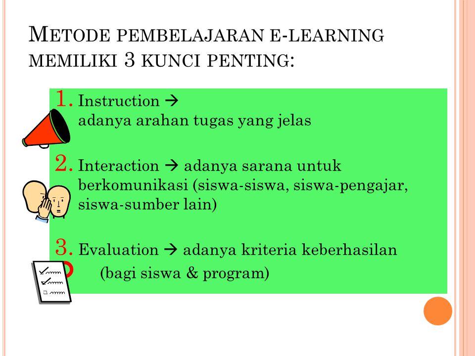 Metode pembelajaran e-learning memiliki 3 kunci penting: