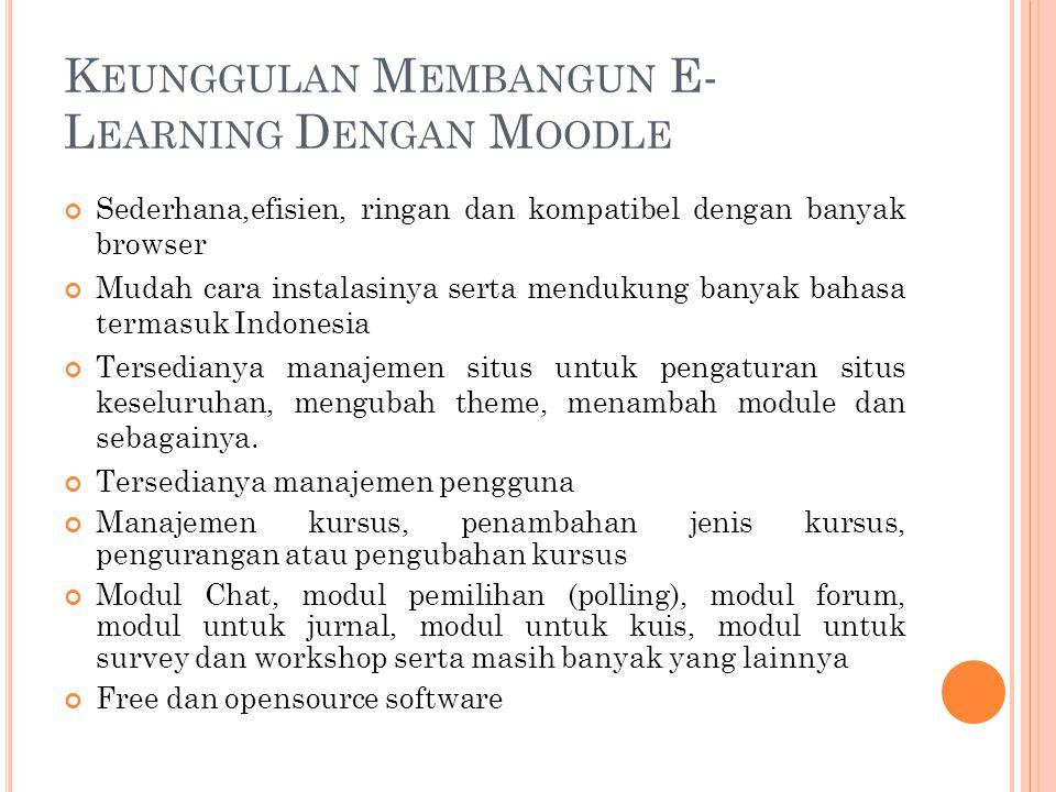 Keunggulan Membangun E-Learning Dengan Moodle