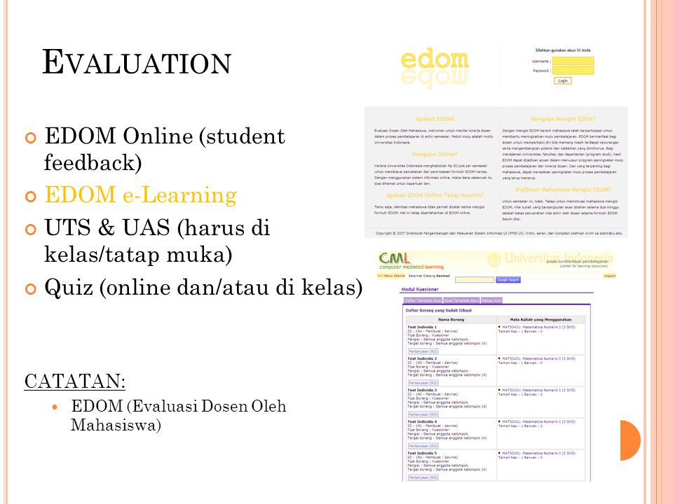 Evaluation EDOM Online (student feedback) EDOM e-Learning