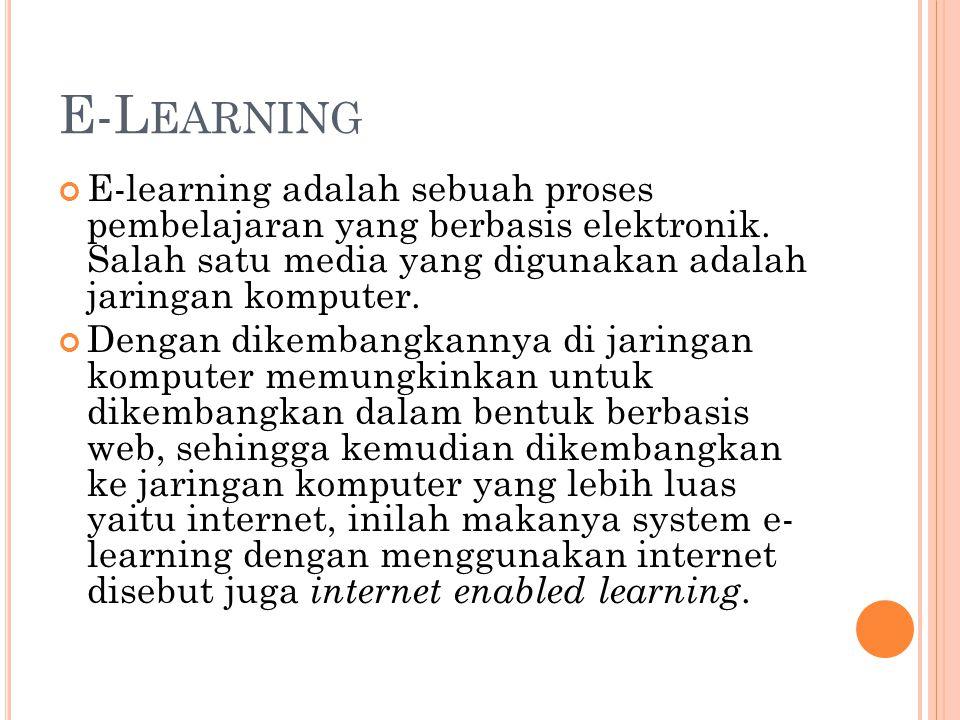 E-Learning E-learning adalah sebuah proses pembelajaran yang berbasis elektronik. Salah satu media yang digunakan adalah jaringan komputer.