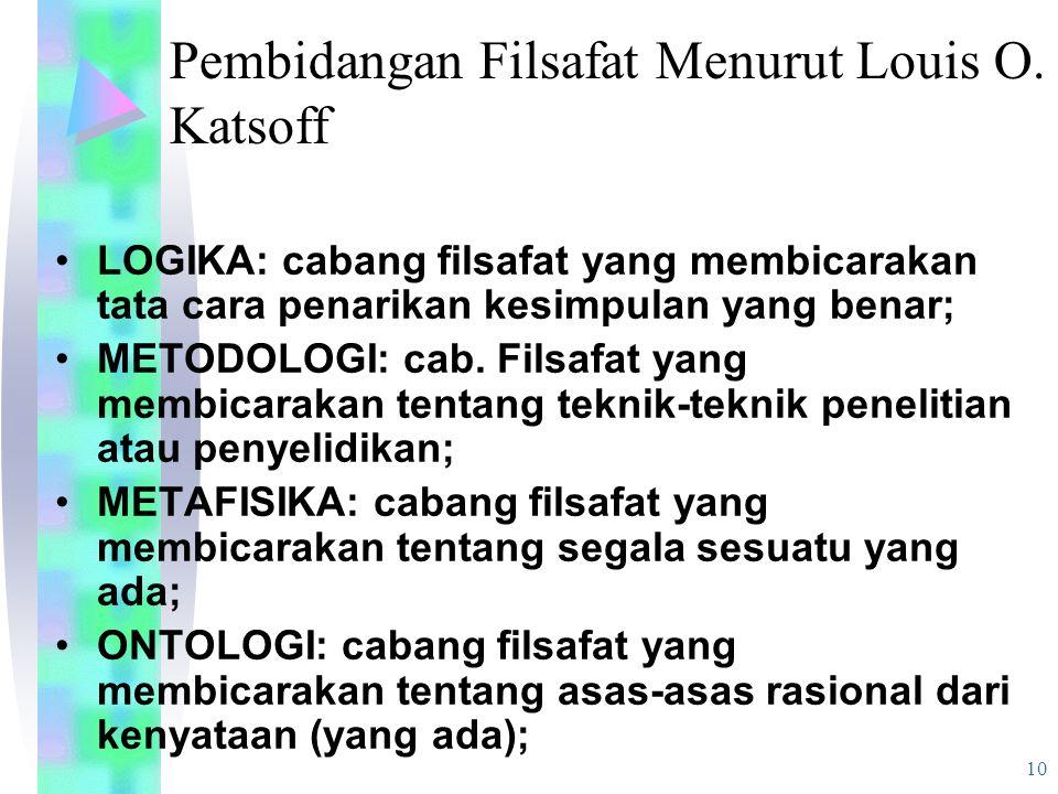 Pembidangan Filsafat Menurut Louis O. Katsoff
