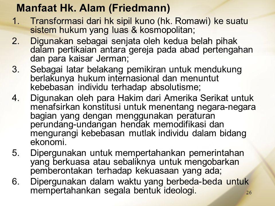 Manfaat Hk. Alam (Friedmann)