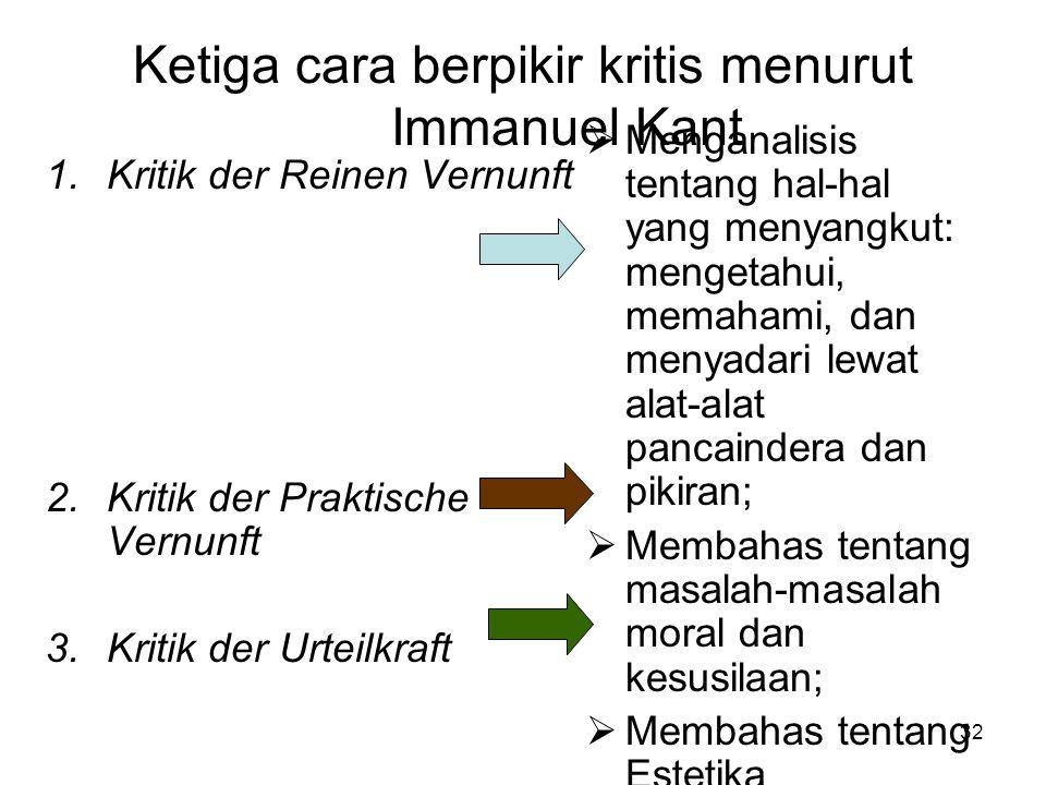 Ketiga cara berpikir kritis menurut Immanuel Kant