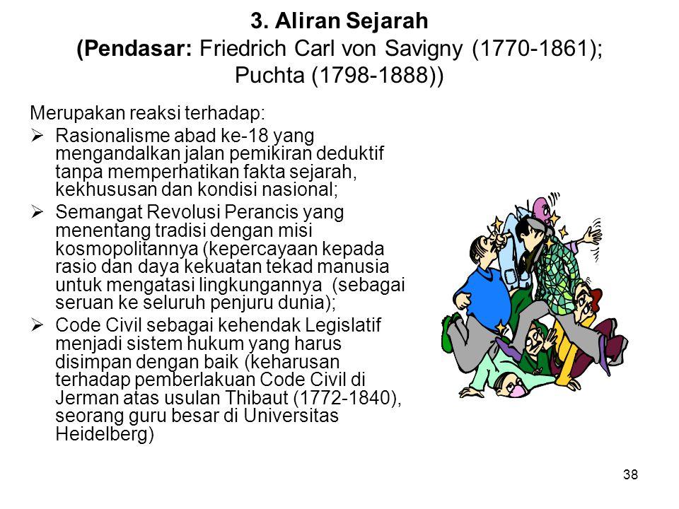 3. Aliran Sejarah (Pendasar: Friedrich Carl von Savigny (1770-1861); Puchta (1798-1888))