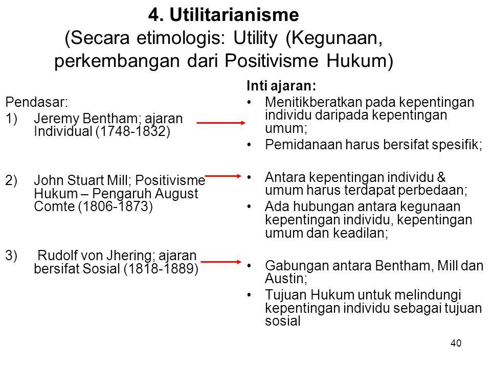 4. Utilitarianisme (Secara etimologis: Utility (Kegunaan, perkembangan dari Positivisme Hukum)