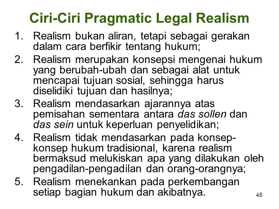 Ciri-Ciri Pragmatic Legal Realism