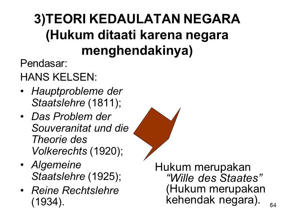 3)TEORI KEDAULATAN NEGARA (Hukum ditaati karena negara menghendakinya)