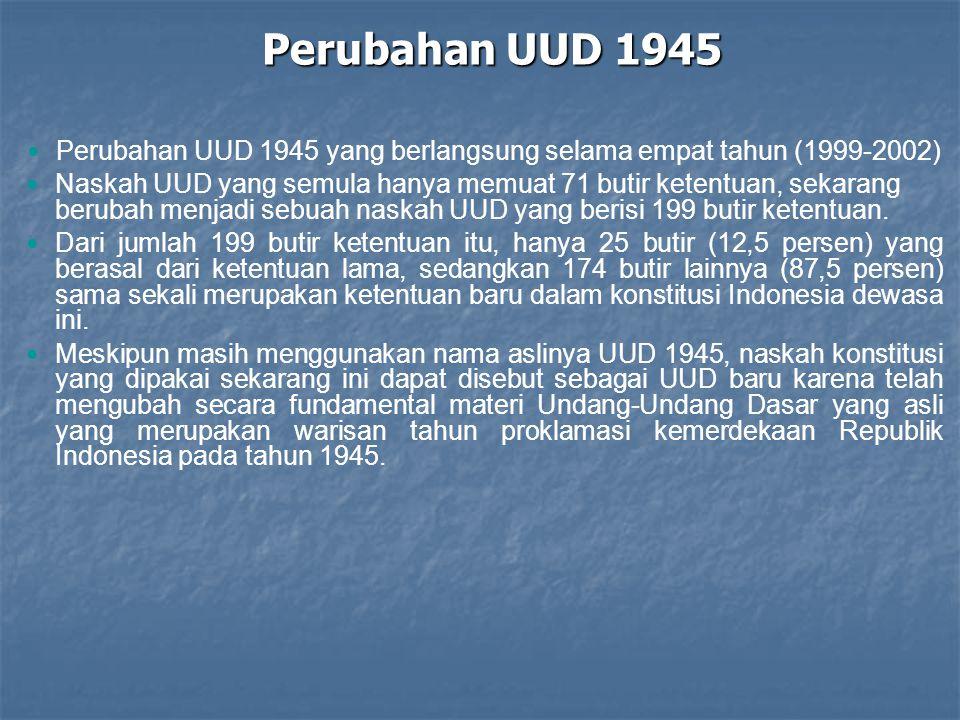Perubahan UUD 1945 yang berlangsung selama empat tahun (1999-2002)