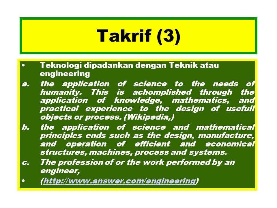 Takrif (3) Teknologi dipadankan dengan Teknik atau engineering
