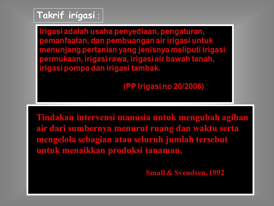 Takrif irigasi :