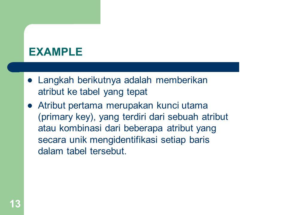 EXAMPLE Langkah berikutnya adalah memberikan atribut ke tabel yang tepat.