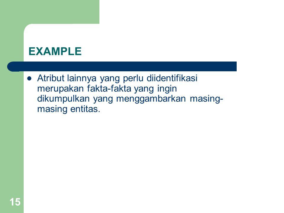 EXAMPLE Atribut lainnya yang perlu diidentifikasi merupakan fakta-fakta yang ingin dikumpulkan yang menggambarkan masing-masing entitas.