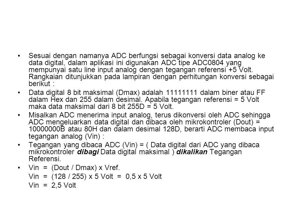 Sesuai dengan namanya ADC berfungsi sebagai konversi data analog ke data digital, dalam aplikasi ini digunakan ADC tipe ADC0804 yang mempunyai satu line input analog dengan tegangan referensi +5 Volt. Rangkaian ditunjukkan pada lampiran dengan perhitungan konversi sebagai berikut :