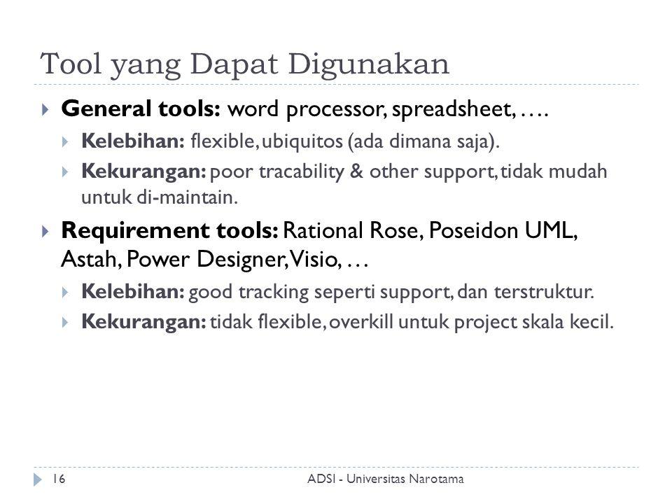 Tool yang Dapat Digunakan