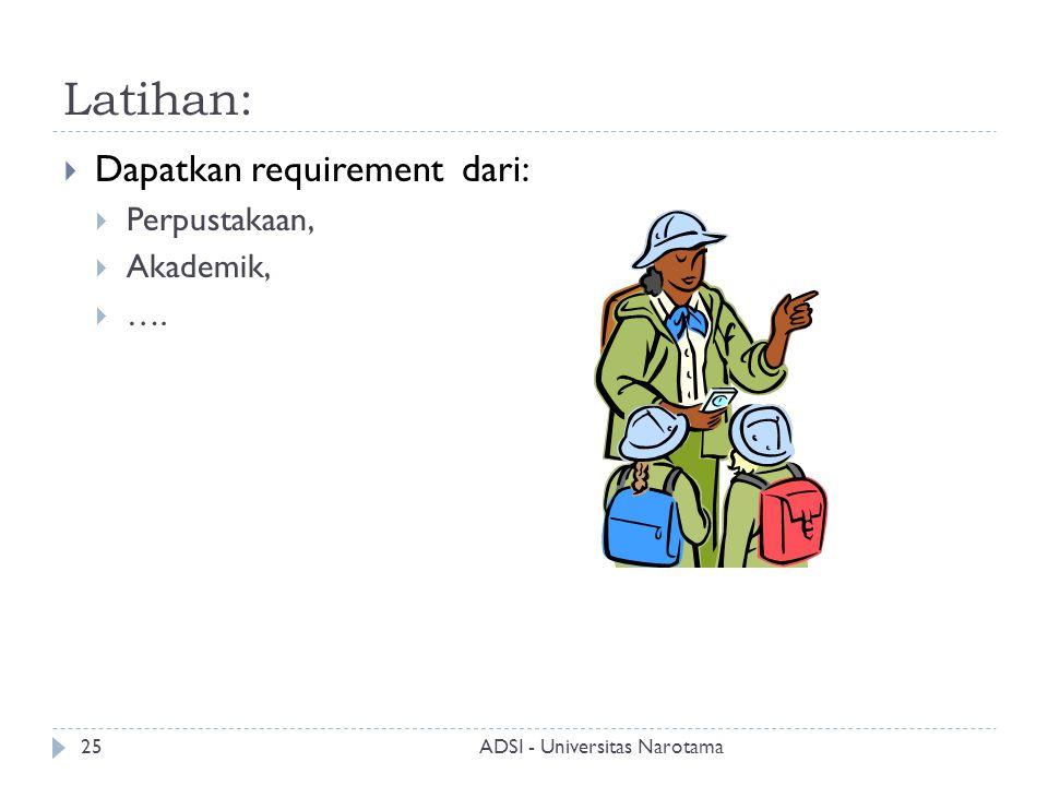 Latihan: Dapatkan requirement dari: Perpustakaan, Akademik, ….