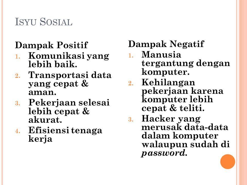 Isyu Sosial Dampak Negatif Dampak Positif