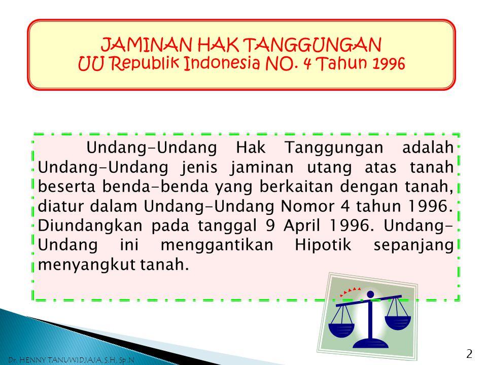 JAMINAN HAK TANGGUNGAN UU Republik Indonesia NO. 4 Tahun 1996