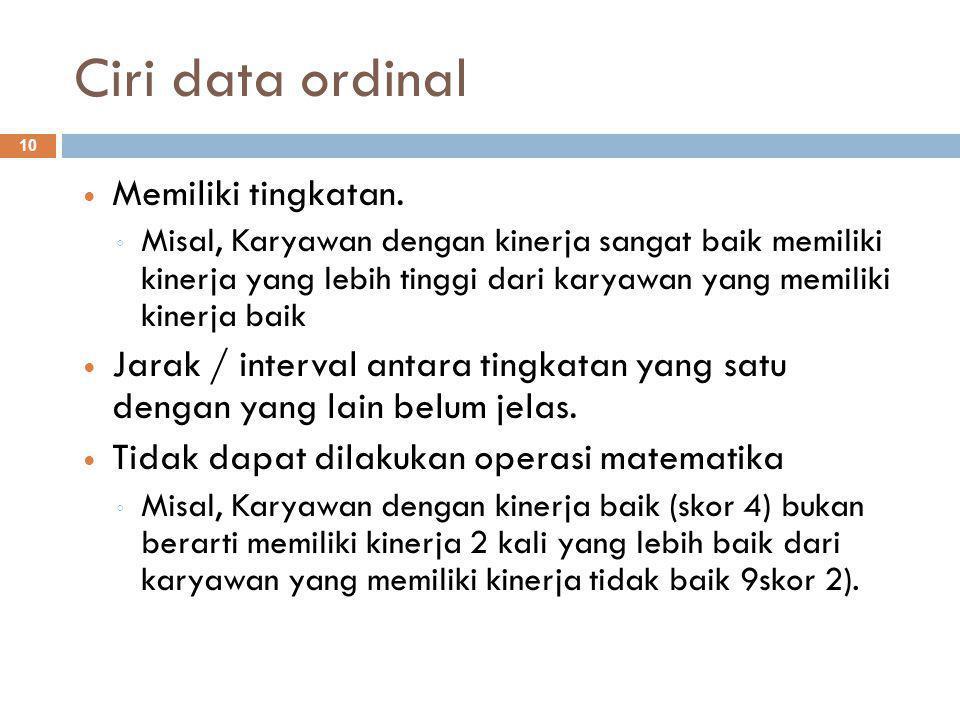 Ciri data ordinal Memiliki tingkatan.
